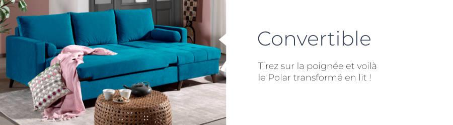 Le canapé d'angle Polar est équipé d'une fonction convertible