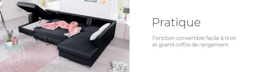 Le canapé d'angle panoramique en Pu Lilly est pratique : fonction convertible facile à tiroir et grand coffre de rangement