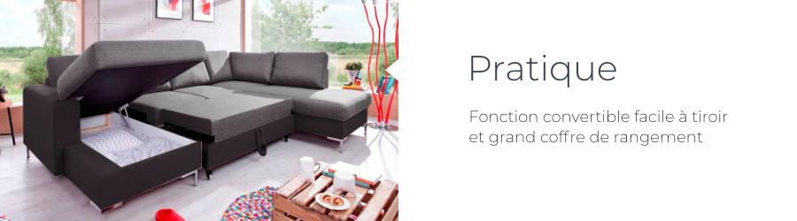 Le canapé d'angle panoramique en tissu Lilly est pratique : fonction convertible facile à tiroir et grand coffre de rangement