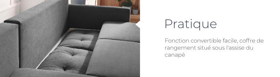 La fonction convertible et le coffre de rangement du canapé d'angle en tissu convertible avec coffre Bobochic Balio