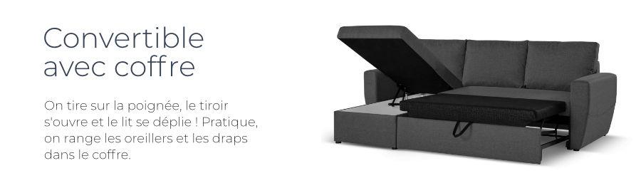 Le canapé d'angle réversible Astoria est équipé d'un coffre de rangement et d'une fonction convertible