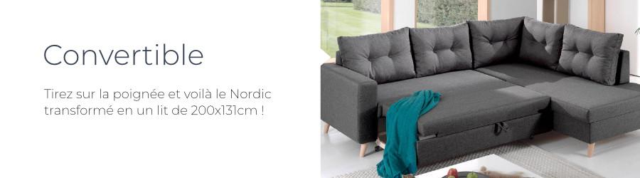 La fonction convertible du canapé d'angle droit Nordic L