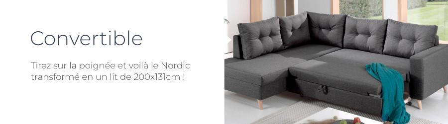 Fonction convertible du canapé d'angle gauche Nordic L
