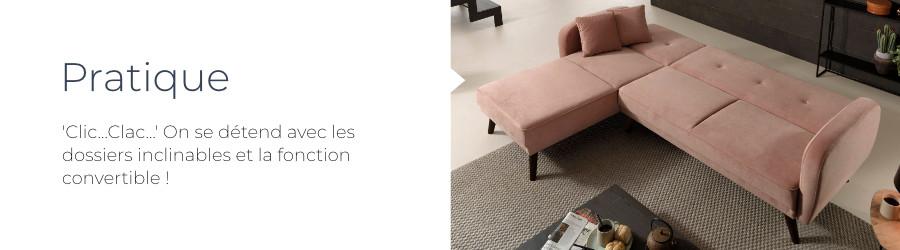 La canapé d'angle Olaf est dotée d'une fonction convertible et de dossiers inclinables