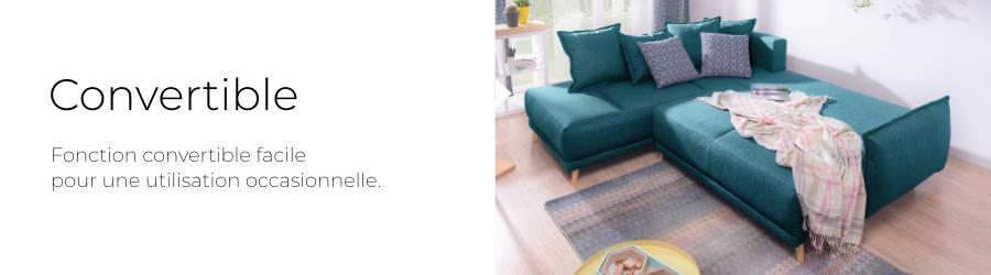 Le canapé Lena est équipé d'une fonction convertible pour une utilisation occasionnelle