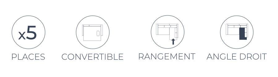 Les fonctions pratique du canapé d'angle droit Montana : 5 places, fonction convertible, coffre de rangement