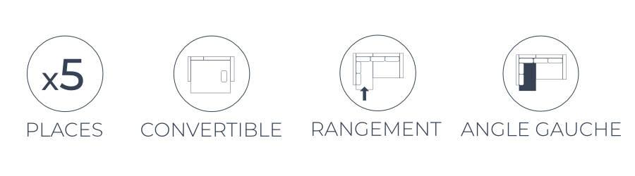 Les fonctions pratiques du canapé d'angle gauche Montana : 5 places, fonction convertible et coffre de rangement