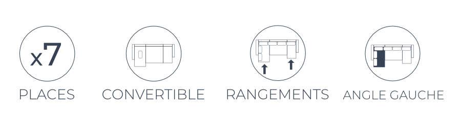 Les fonctions pratiques du canapé d'angle gauche panoramique convertible Montana