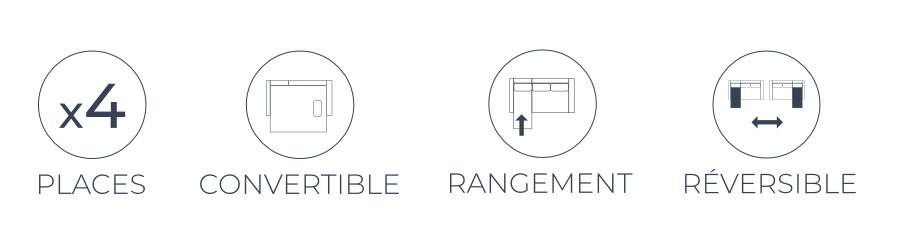Les fonctions pratiques du canapé d'angle Montana : 4 places, convertible, coffre de rangement et angle réversible