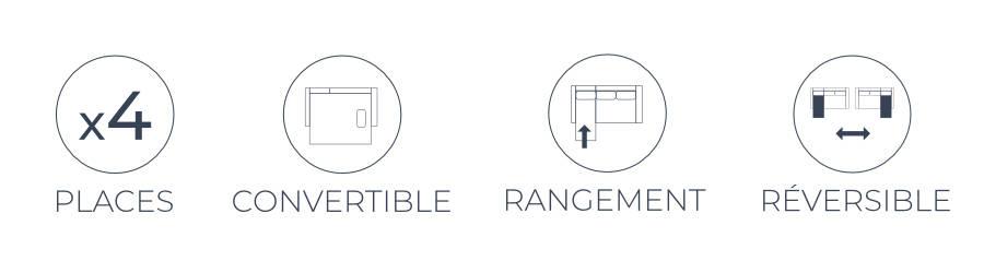Les fonctions pratiques du canapé d'angle Polar : 4 places, angle réversible, fonction convertible et coffre de rangement