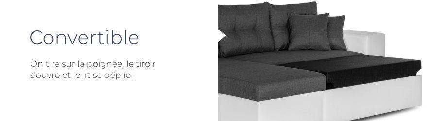 La fonction convertible du canapé d'angle réversible California bicolore est pratique pour optimiser l'espace