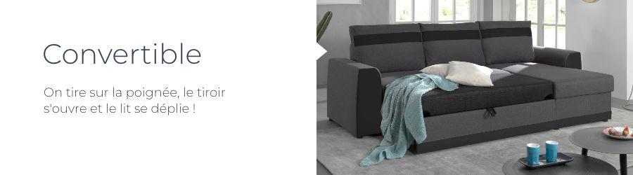 La canapé d'angle Capri est doté d'une fonction convertible par tiroir