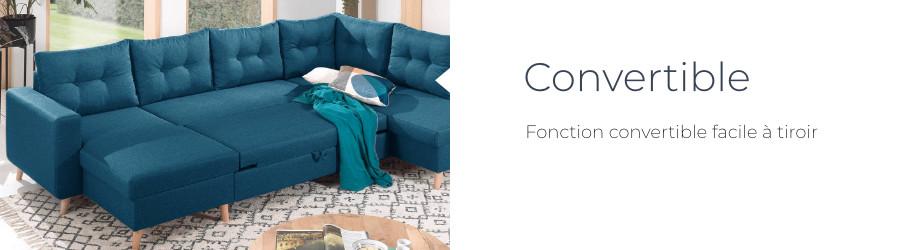 La fonction convertible du canapé panoramique d'angle droit Nordic