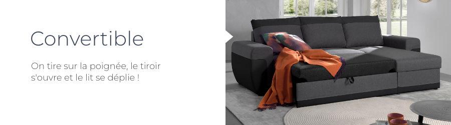 Le canapé d'angle Milan est doté d'une fonction convertible par tiroir