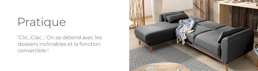 Parfait pour optimiser l'espace ou accueillir des invités, le canapé Vera est convertible. Les dossiers s'inclinent facilement à la façon d'un clic clac
