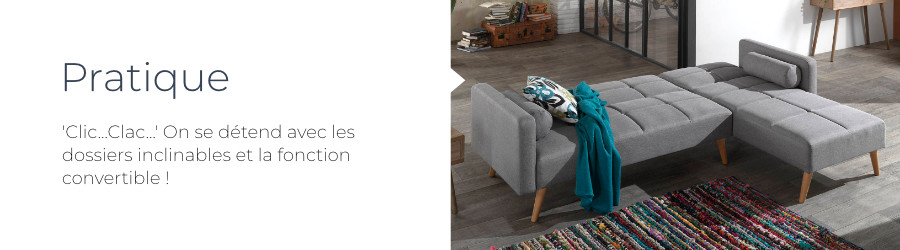 Pratique, le canapé d'angle Zara est convertible avec ses dossiers inclinables