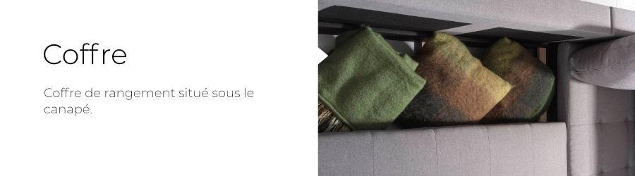 Le coffre de rangement du canapé en U Ivar