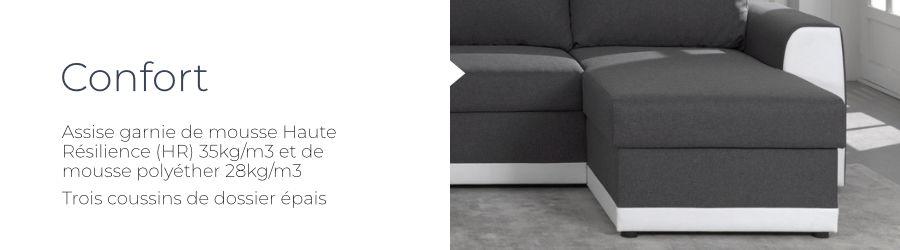 Le confort du canapé Capri grâce à sa mousse haute résilience HR