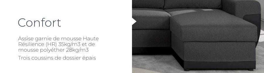 Le confort du canapé d'angle Milan grâce à la mousse haute résilence HR