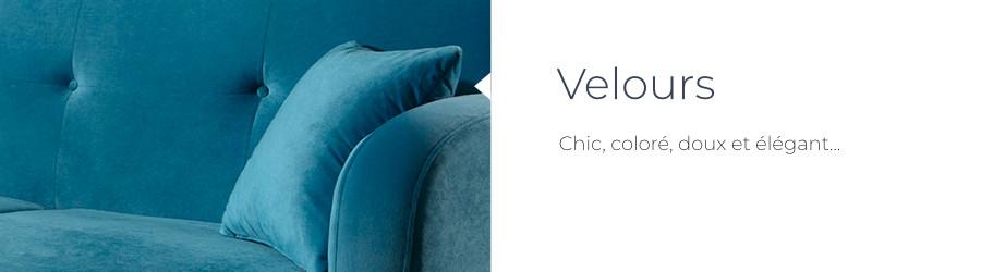 Le revêtement en velours du canapé d'angle Olaf de chez Best Mobilier