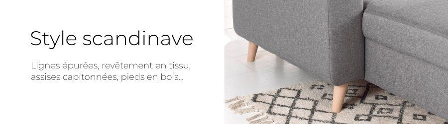 Design scandinave : lignes épurées, pieds en bois et revêtement en tissu
