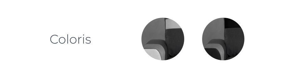 Les coloris du canapé d'angle Capri : Noir/Gris et Blanc/Gris