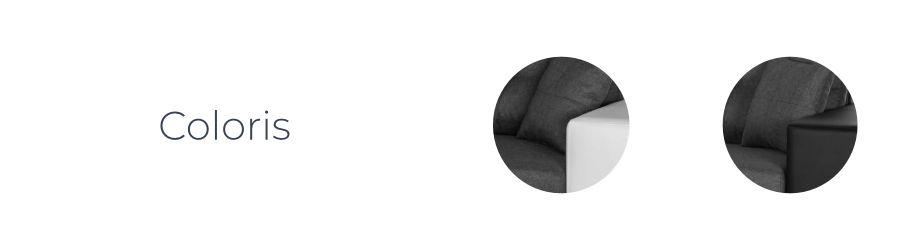 Les coloris du canapé d'angle réversible California bicolore : blanc/gris et noir/gris