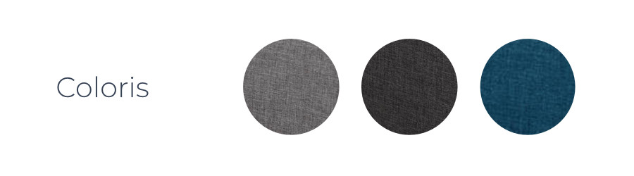 Les coloris du canapé d'angle Vera : gris clair, gris foncé, bleu canard