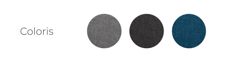 Les coloris du canapé d'angle Zara : gris clair, gris foncé et bleu canard