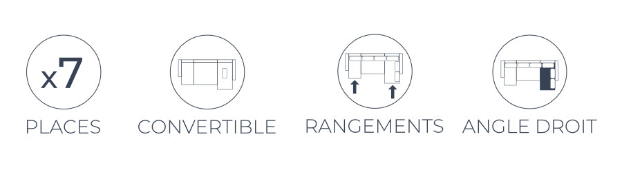 Les fonctions pratiques du canapé panoramique d'angle droit Nordic