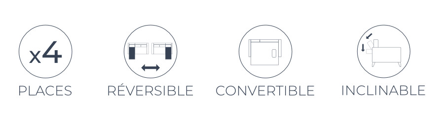 Les fonctions pratiques du canapé d'angle réversible convertible Folke vintage