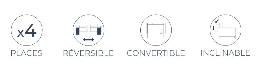 Les fonctions pratiques du canapé Vera : 4 places, angle réversible, fonction convertible, dossiers inclinables
