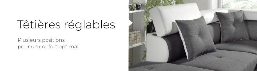 Le canapé d'angle Lisbona est équipé de 3 têtières réglables dans plusieurs positions